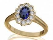 Aranygyűrű zafírral és gyémántokkal