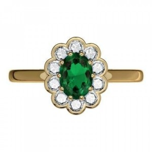 Aranygyűrű smaragd és gyémántkővel