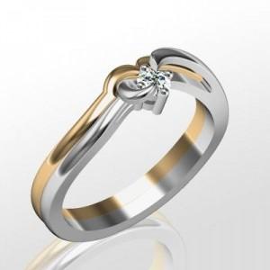 Dupla aranygyűrű gyémánttal