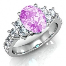 Fehérarany gyűrű pink topázzal gyémánttal