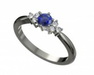 Eljegyzési gyűrű fehéranyból zafírral és gyémántokkal