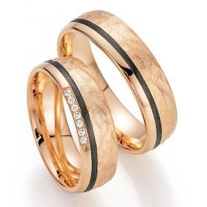 Arany karikagyűrű pár kerámia intarziával