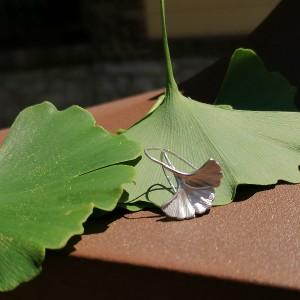 Ginkgo fülbevaló ezüstből