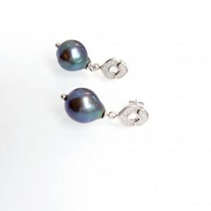 Polinéz gyöngy fülbevaló ezüsttel