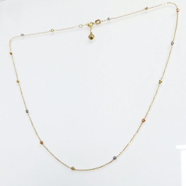Arany nyaklánc háromszínű aranyból