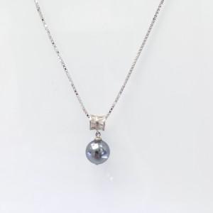 Ezüst medál kagylógyönggyel ezüst lánccal