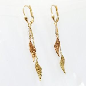 Arany fülbevaló háromszínű aranyból