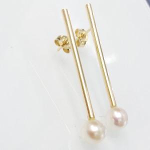 Arany fülbevaló valódi gyönggyel