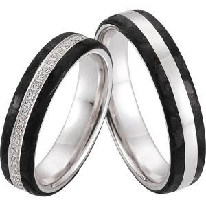 Fehérarany karikagyűrű kerámia intarziával