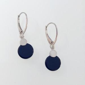 Ezüst fülbevaló onyx kővel