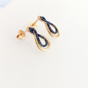 Arany fülbevaló kék gyémánttal