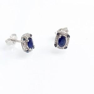 Gyémánt és zafír fehérarany fülbevaló