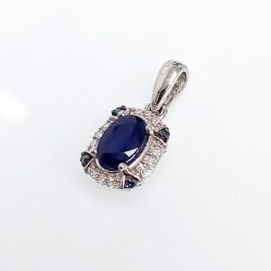 Fehérarany gyémánt és zafír medál