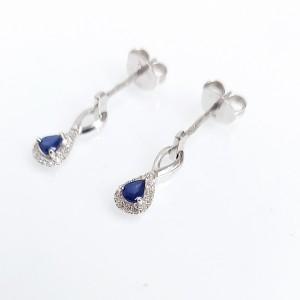 Gyémánt fülbevaló zafírral fehéraranyból